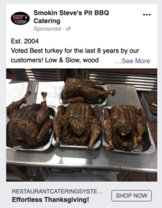 Picture of Facebook Ad for turkeys